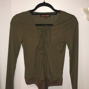Olive green lace up body suit